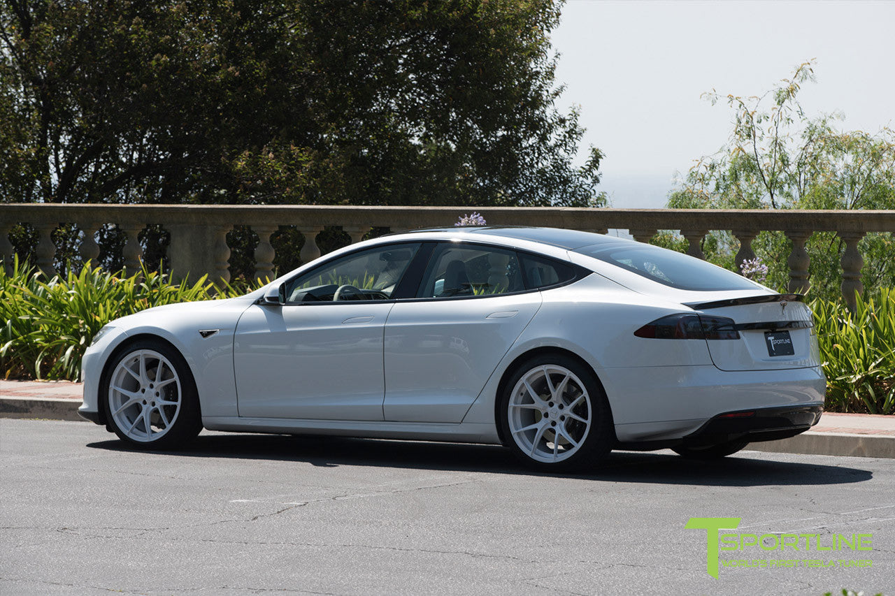 White Tesla Model S 1.0 with Bright White 21 inch TS115 Forged Wheels 1
