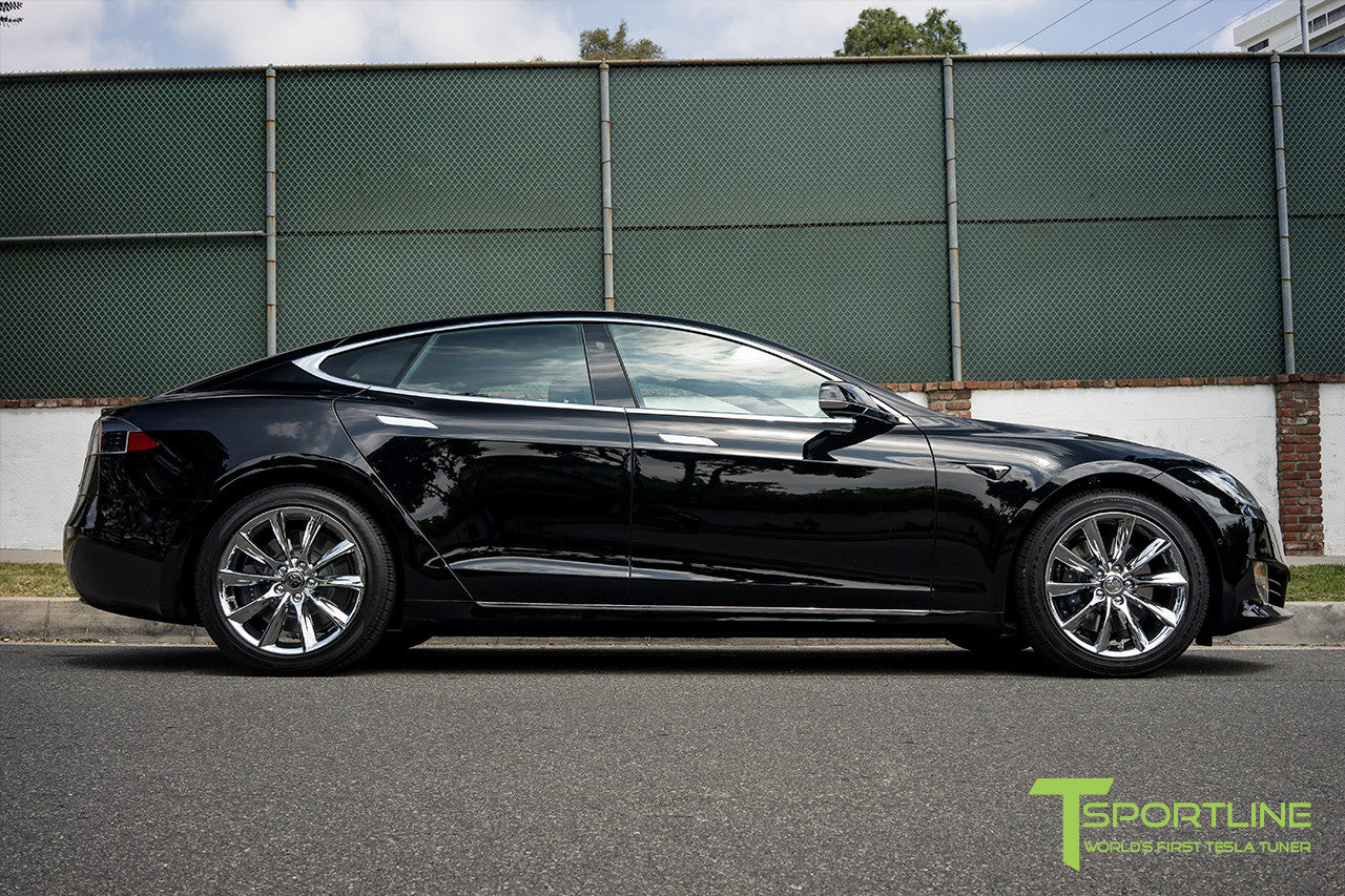 "Black Model S 1.0 with 19"" TST Tesla Wheel in Chrome"