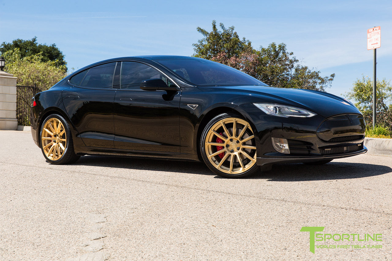 Black Tesla Model S 1.0 with Ghost Gold 21 inch TS112 Forged Wheels 1