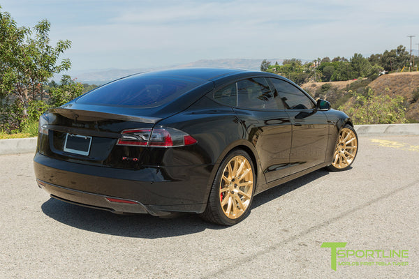 Black Tesla Model S 1.0 with Ghost Gold 21 inch TS112 Forged Wheels 2