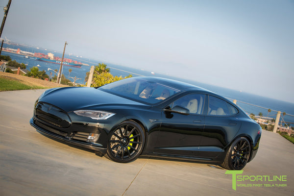 Black Tesla Model S 1.0 with Matte Black 21 inch TS112 Forged Wheels 1