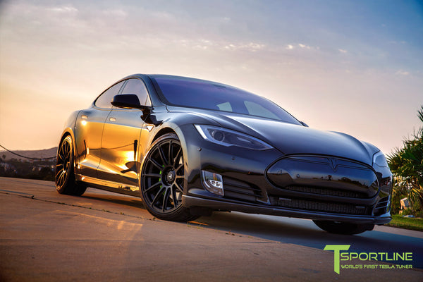 Black Tesla Model S 1.0 with Matte Black 21 inch TS112 Forged Wheels 2