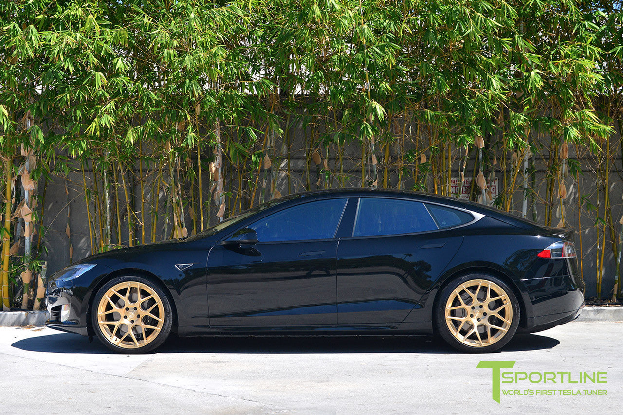 Black Tesla Model S 1.0 with Ghost Gold 21 inch TS117 Forged Wheels 1