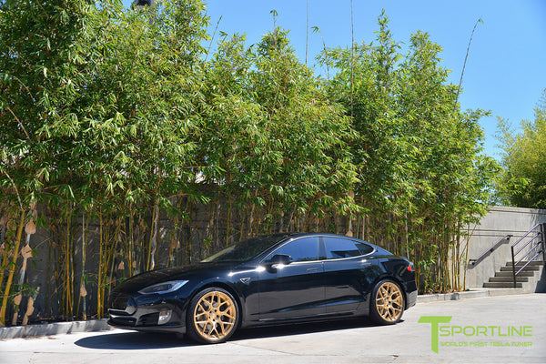 Black Tesla Model S 1.0 with Ghost Gold 21 inch TS117 Forged Wheels 2
