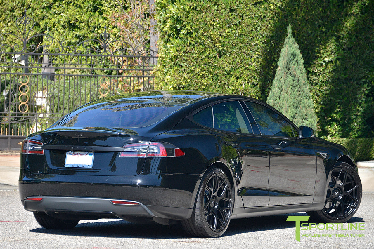 Black Tesla Model S 1.0 with Matte Black 21 inch TS117 Forged Wheels 3