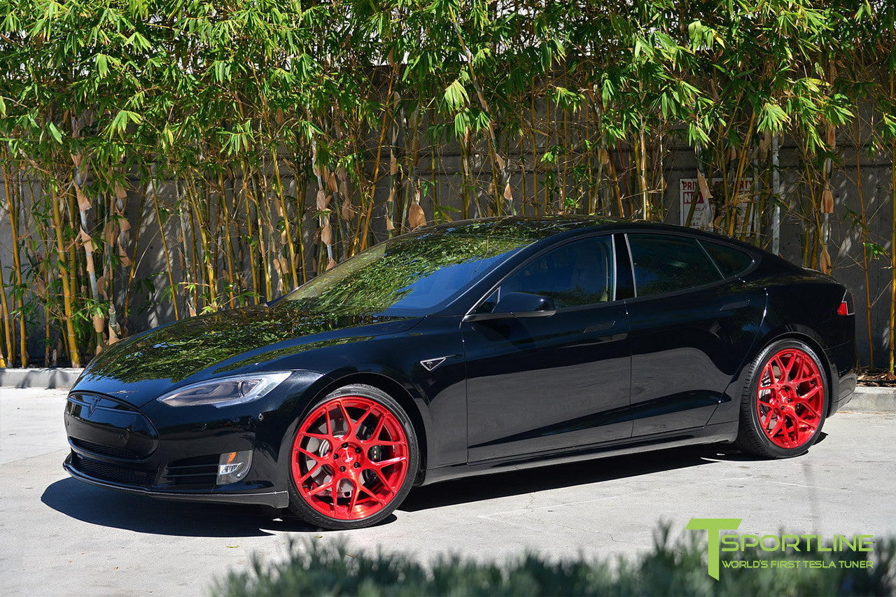 Black Tesla Model S 1.0 with Velocity Red 21 inch TS117 Forged Wheels