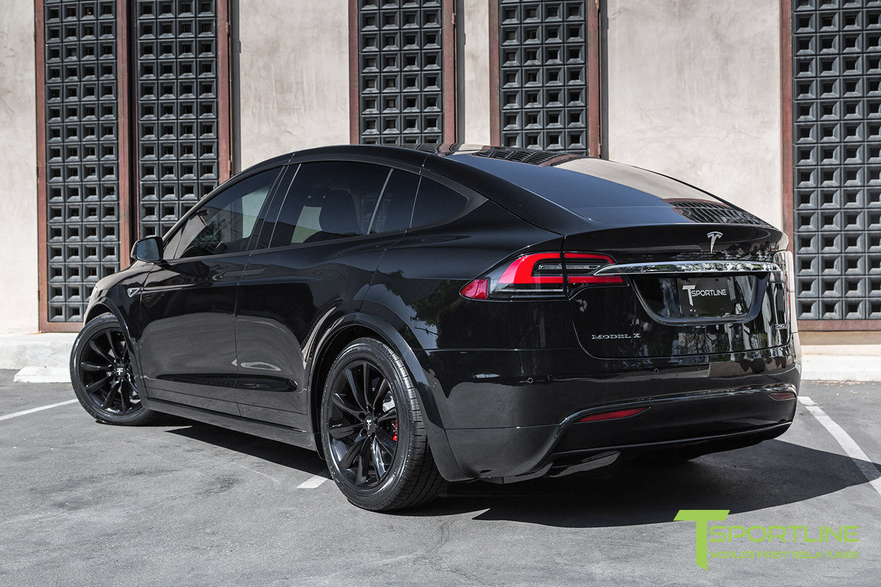 "Black Model X with 20"" TST Tesla Wheel in Gloss Black"