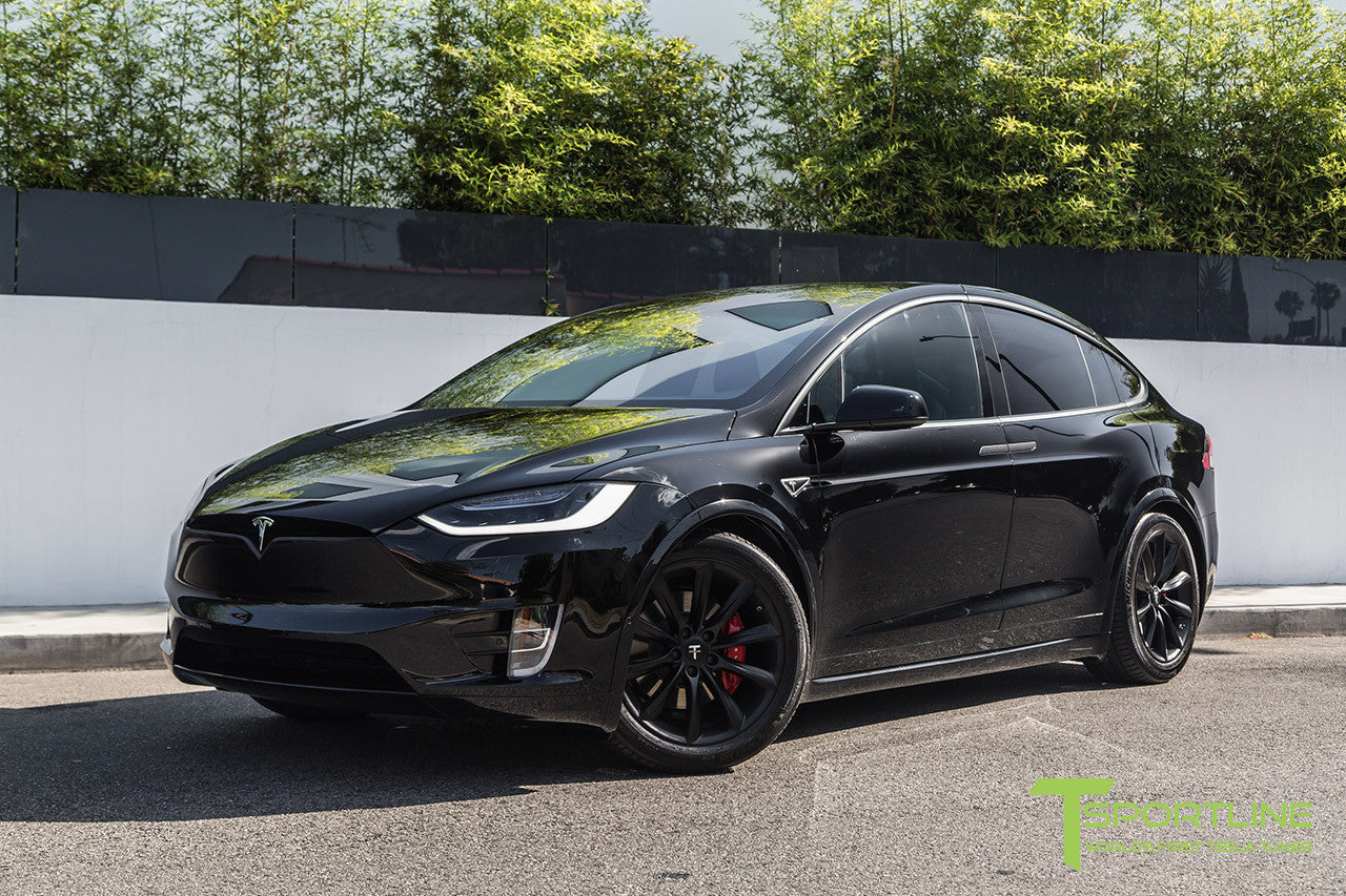 "Black Model X with 20"" TST Tesla Wheel in Matte Black"