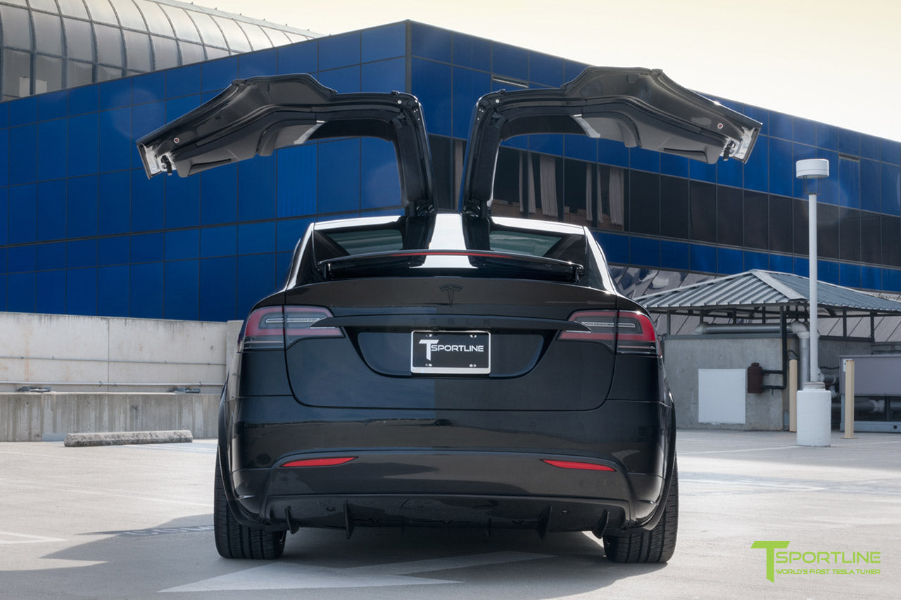 Black Tesla Model X with Matte Black MX5 22 inch Forged Wheels, Carbon Fiber Sport Package - Front Apron - Rear Diffuser - Side Skirt - Rear Wing by T Sportline