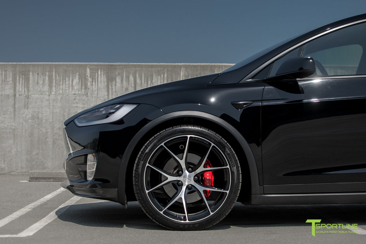 Black Tesla Model X with Diamond Black 22 inch MX115 Forged Wheels by T Sportline 3