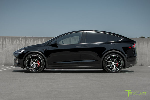 Black Tesla Model X with Diamond Black 22 inch MX115 Forged Wheels by T Sportline 5