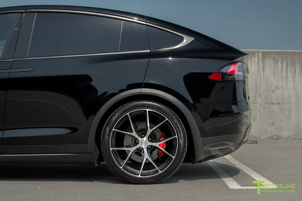 Black Tesla Model X with Diamond Black 22 inch MX115 Forged Wheels by T Sportline 2