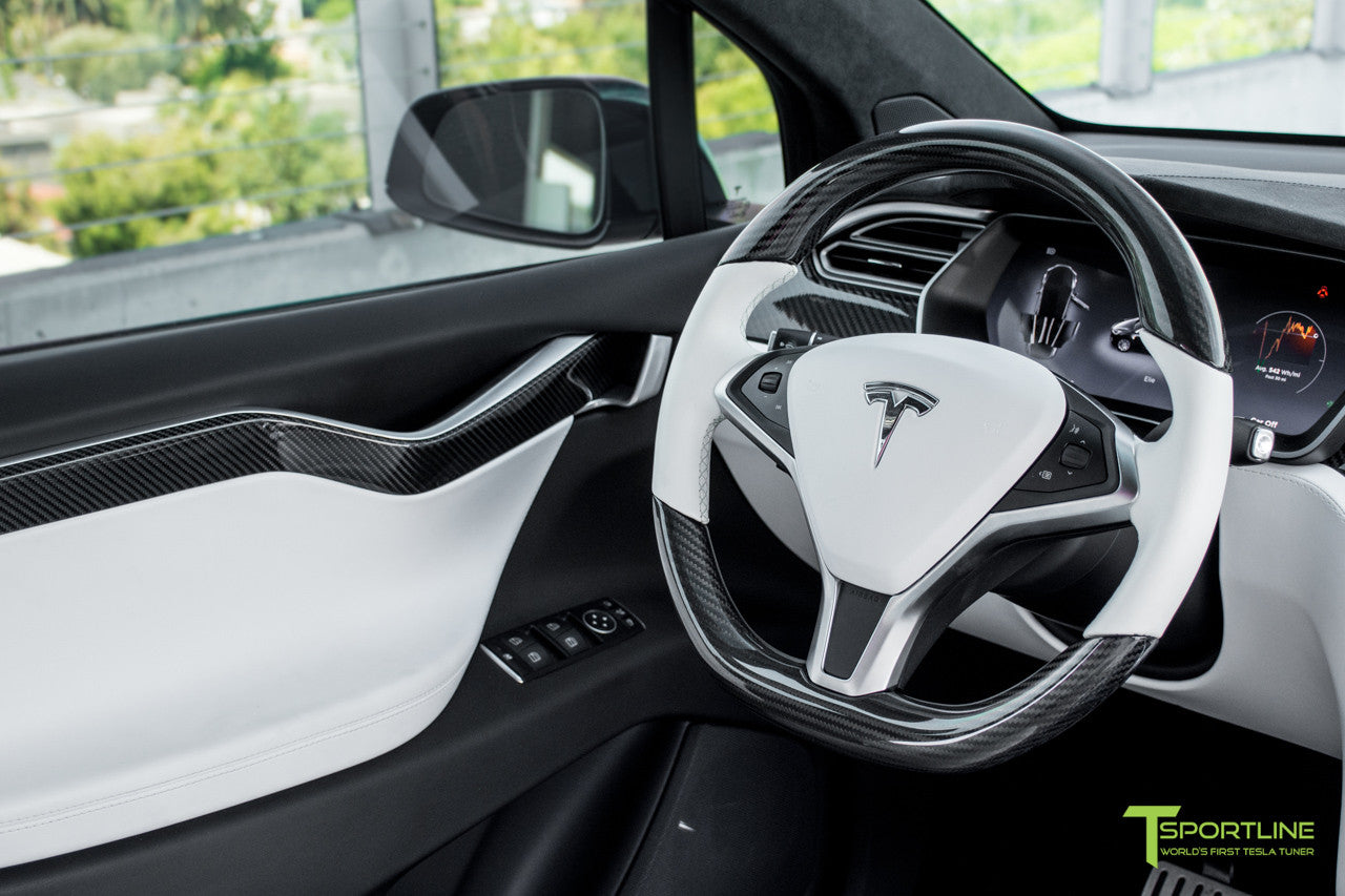 Tesla Model X P100D - White Interior - Carbon Fiber Dash Kit - Dashboard - Steering Wheel by T Sportline 12