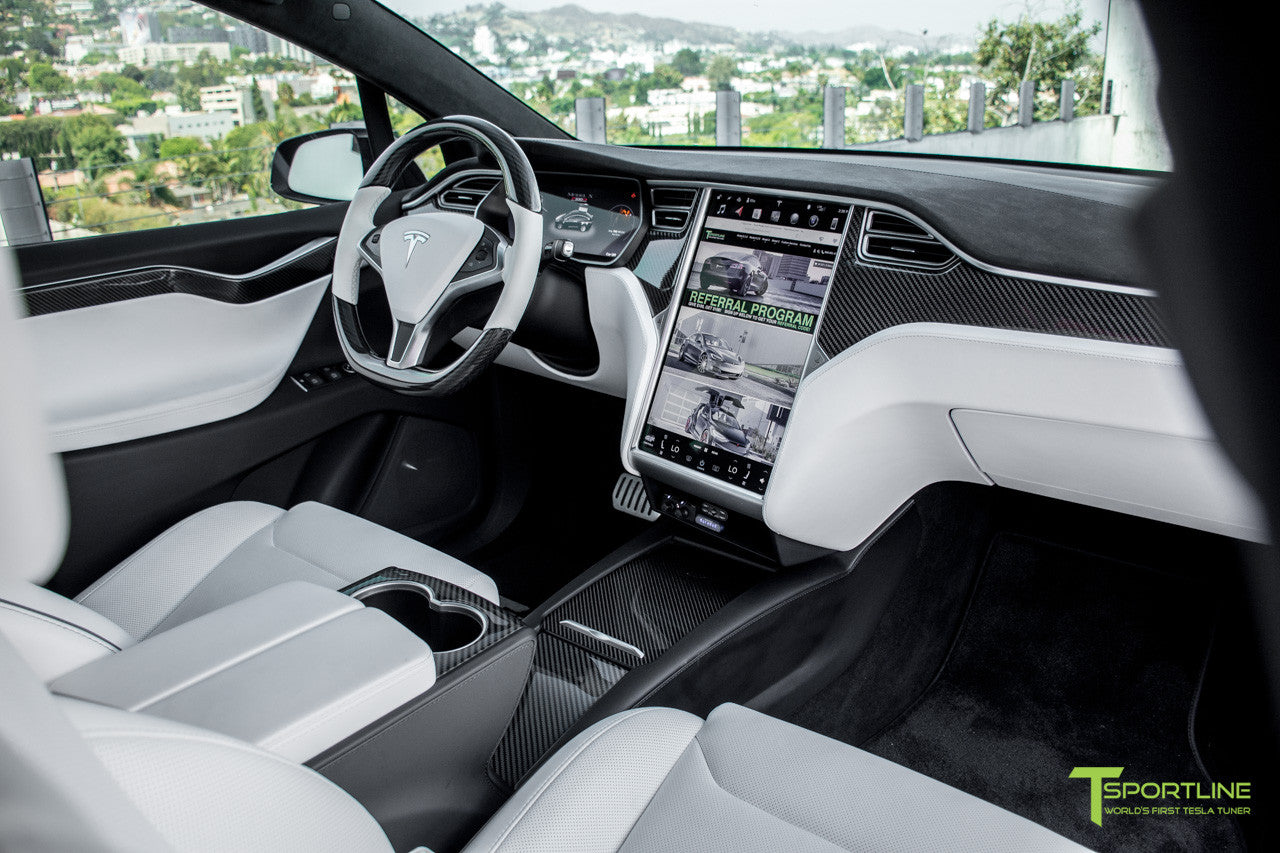 Project TSX8 - Tesla Model X P100D - White Interior - Carbon Fiber Dash Kit - Dashboard - Steering Wheel by T Sportline