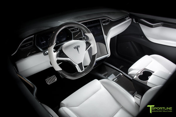 Tesla Model X P100D - White Interior - Carbon Fiber Dash Kit - Dashboard - Steering Wheel by T Sportline 13