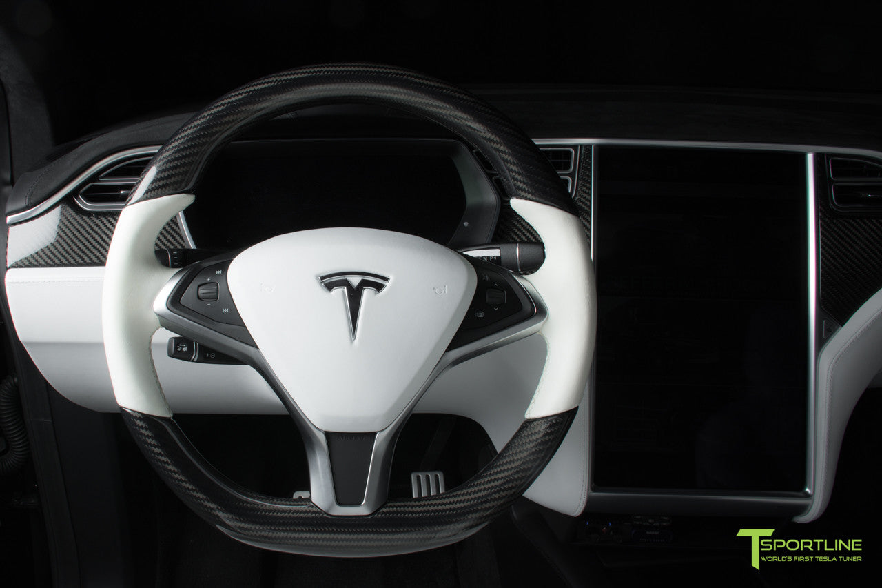 Tesla Model X P100D - White Interior - Carbon Fiber Dash Kit - Dashboard - Steering Wheel by T Sportline 14