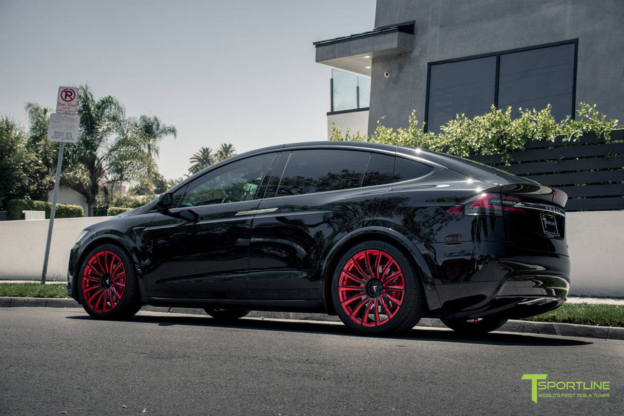 Black Tesla Model X with Imperial Red 22 inch MX114 Forged Wheels by T Sportline
