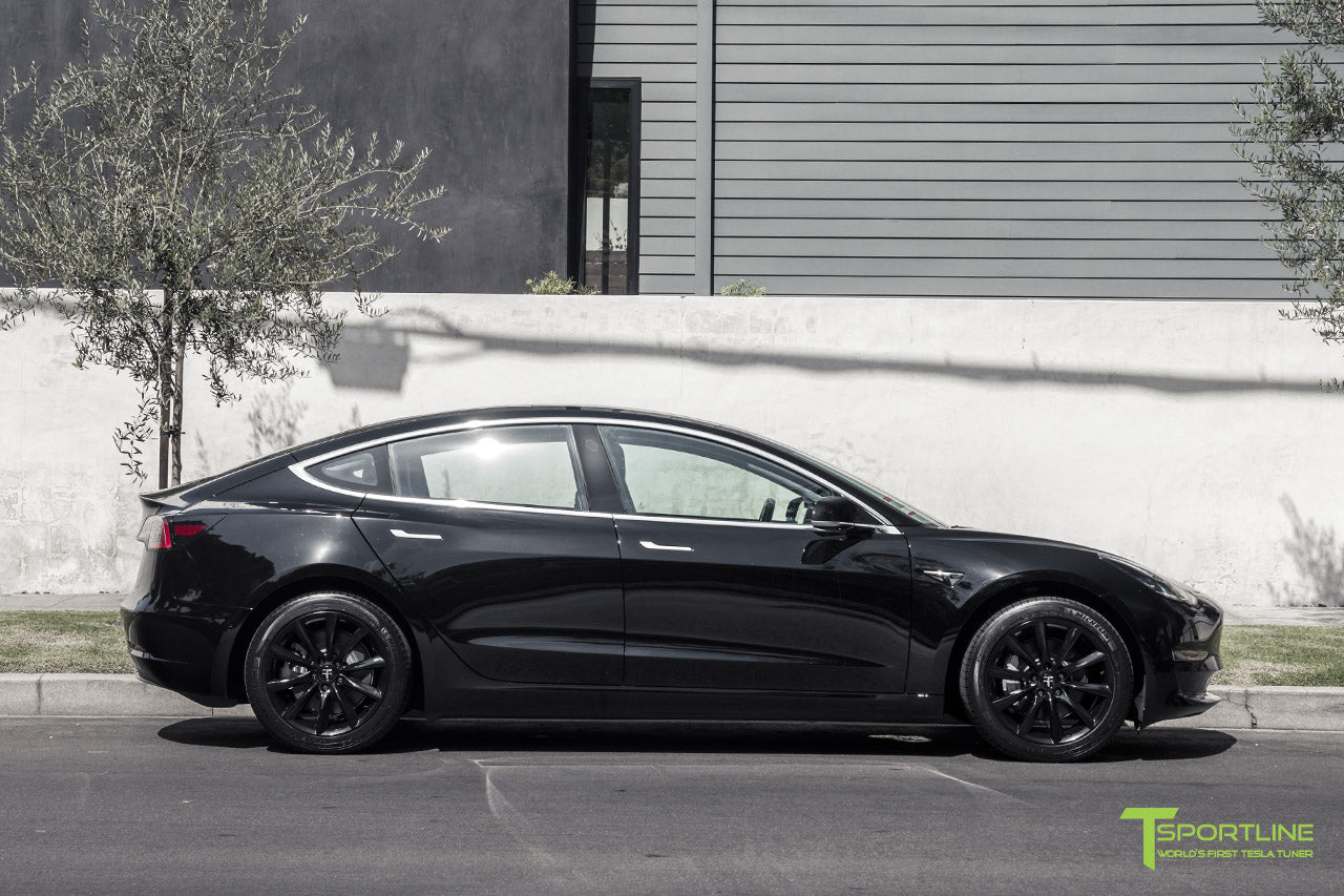 Black Tesla Model 3 with Gloss Black 18 inch TST Flow Forged Turbine Style Wheels by T Sportline 3