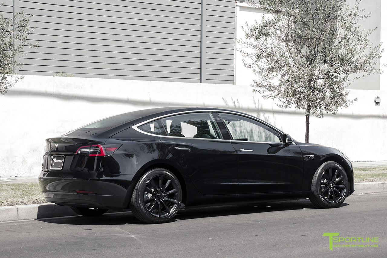 Black Tesla Model 3 with Gloss Black 18 inch TST Flow Forged Turbine Style Wheels by T Sportline 2