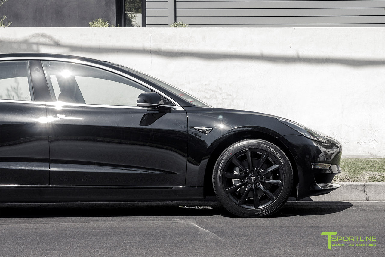 Black Tesla Model 3 with Gloss Black 18 inch TST Flow Forged Turbine Style Wheels by T Sportline 1