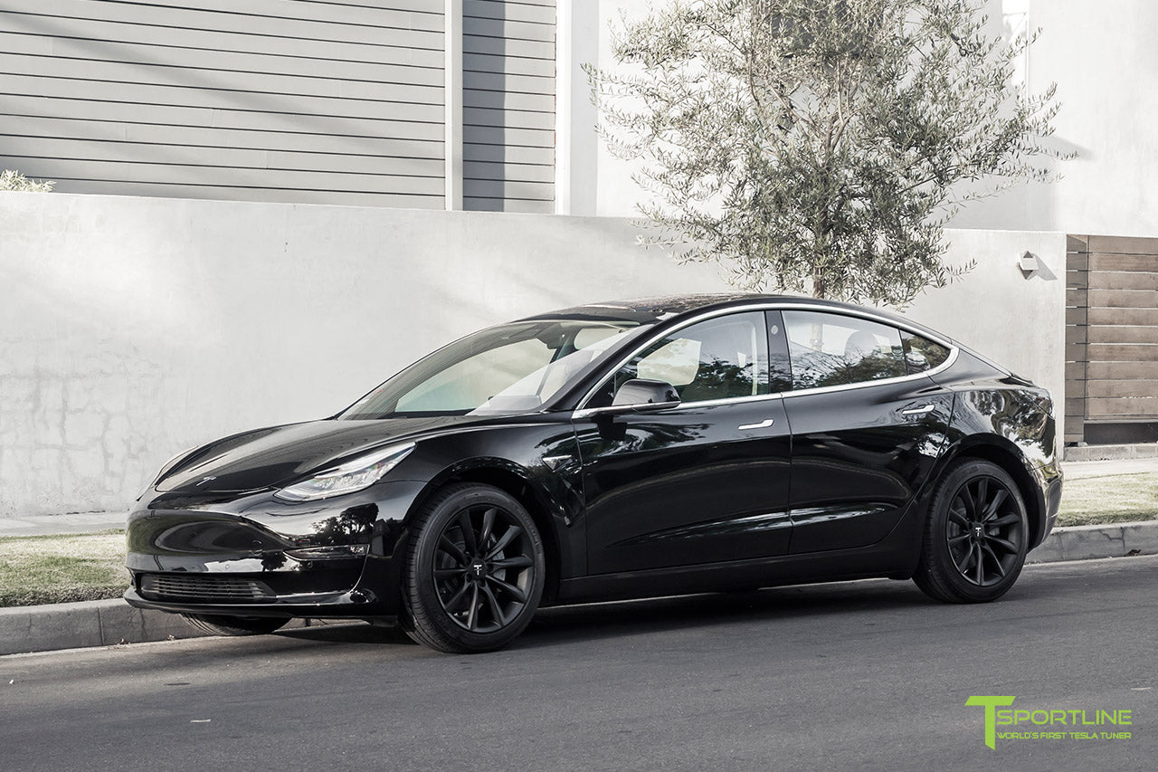 Black Tesla Model 3 with Matte Black 18 inch TST Flow Forged Turbine Style Wheels by T Sportline 4
