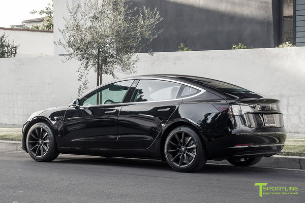 Black Tesla Model 3 with Matte Black 18 inch TST Flow Forged Turbine Style Wheels by T Sportline 2