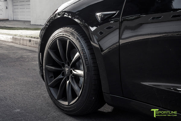 Black Tesla Model 3 with Matte Black 18 inch TST Flow Forged Turbine Style Wheels by T Sportline 1