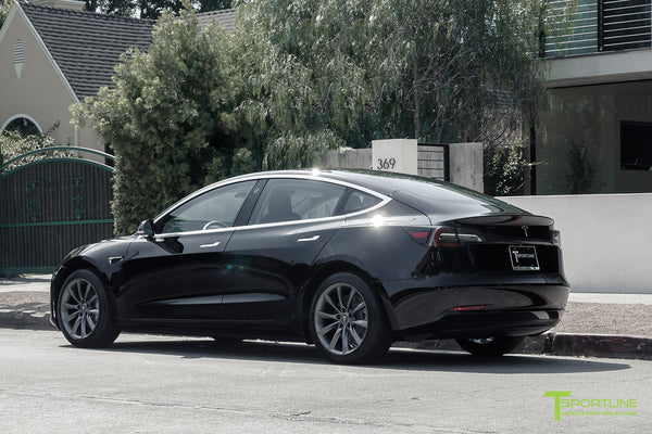 Black Tesla Model 3 with Space Gray 18 inch TST Flow Forged Turbine Style Wheels by T Sportline 2