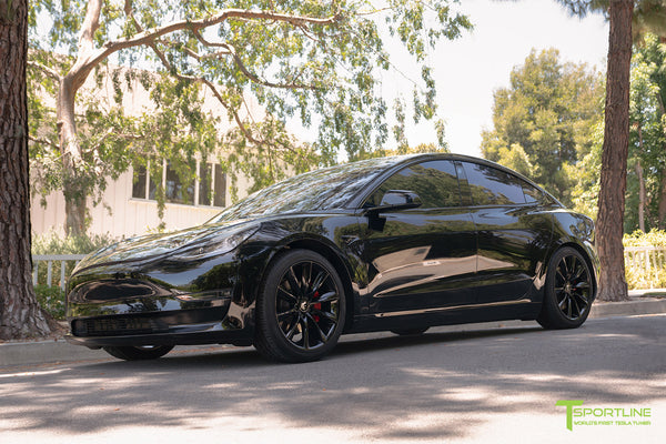 Black Tesla Model 3 with Lowering Springs by T Sportline 5