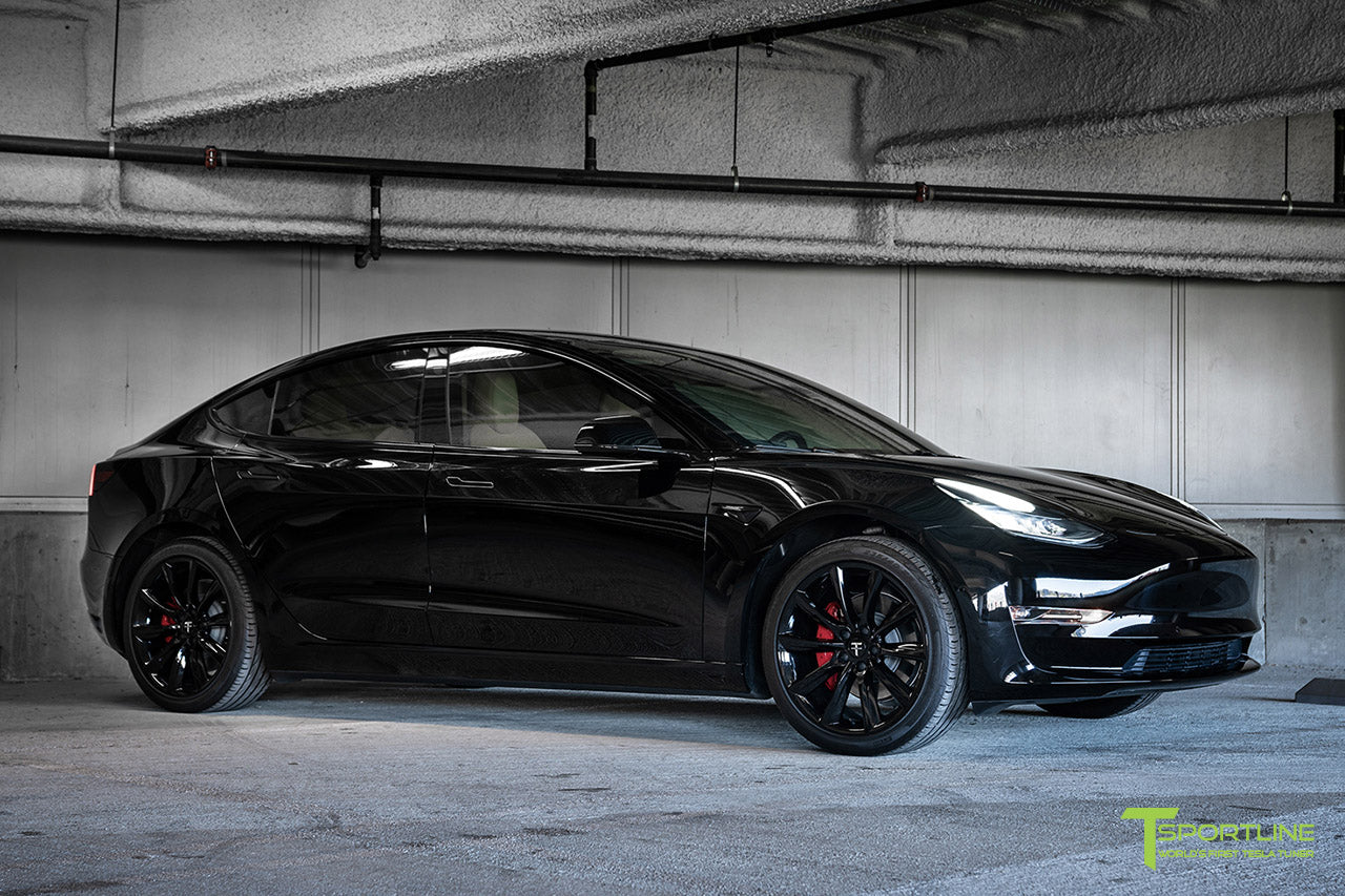 Black Model 3 with Gloss Black 19 inch TST Turbine Style Wheels and Chrome Delete by T Sportline 4