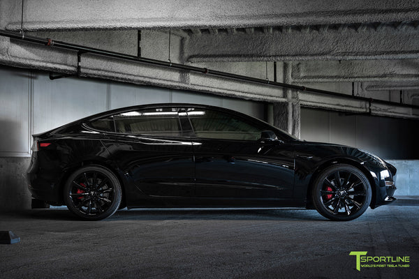 Black Model 3 with Gloss Black 19 inch TST Turbine Style Wheels and Chrome Delete by T Sportline 3
