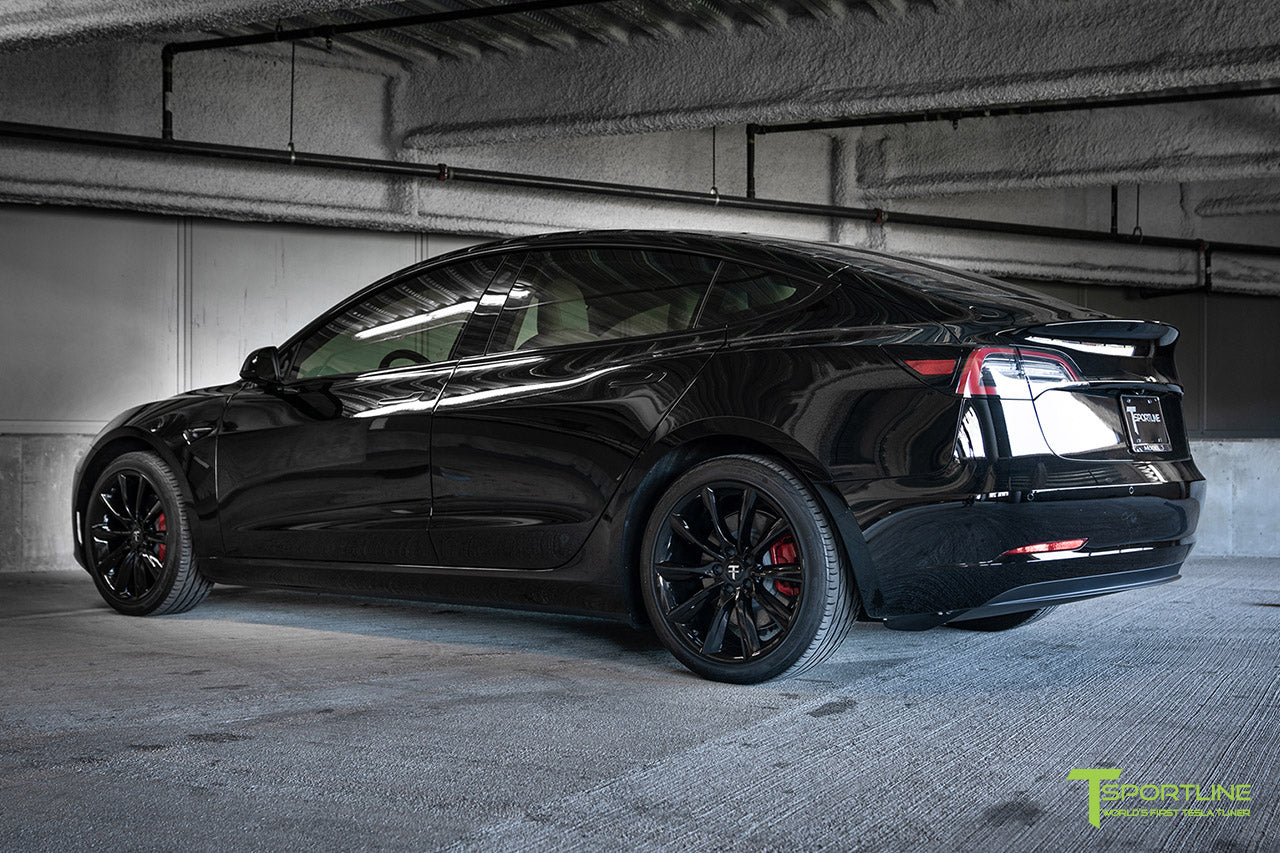 Black Model 3 with Gloss Black 19 inch TST Turbine Style Wheels and Chrome Delete by T Sportline 2