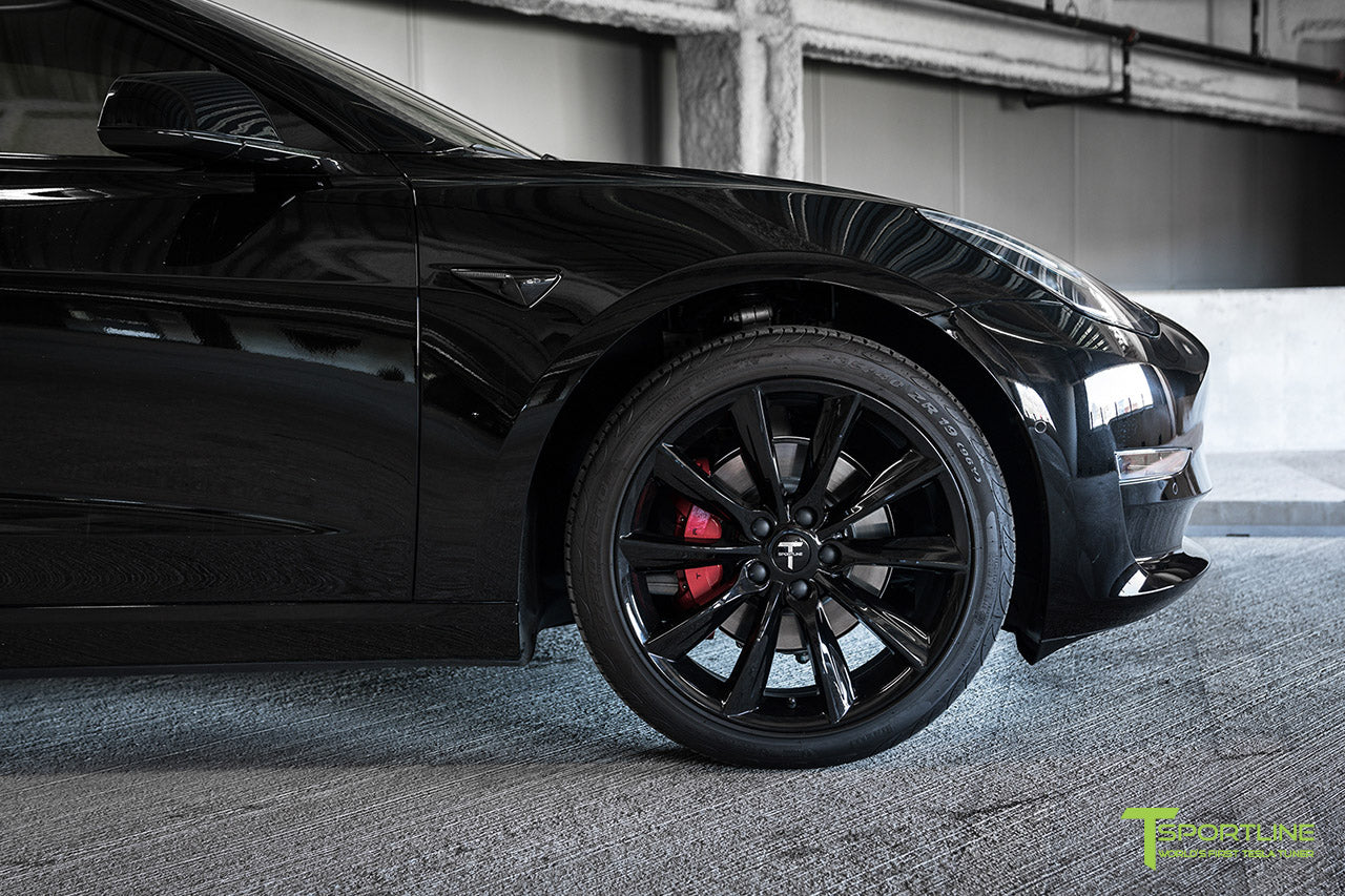 Black Model 3 with Gloss Black 19 inch TST Turbine Style Wheels and Chrome Delete by T Sportline