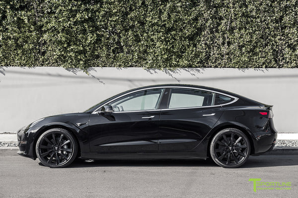 Black Tesla Model 3 with Gloss Black 20 inch TST Turbine Style Wheels by T Sportline 3
