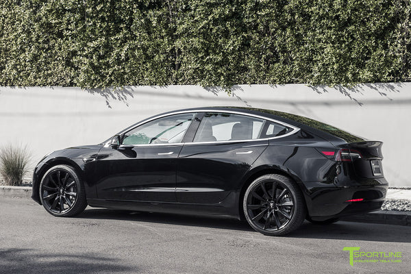 Black Tesla Model 3 with Gloss Black 20 inch TST Turbine Style Wheels by T Sportline 2
