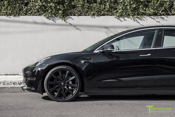 Black Tesla Model 3 with Gloss Black 20 inch TST Turbine Style Wheels by T Sportline 1