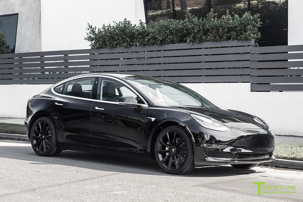 Black Tesla Model 3 with Matte Black 20 inch TST Turbine Style Wheels by T Sportline 4