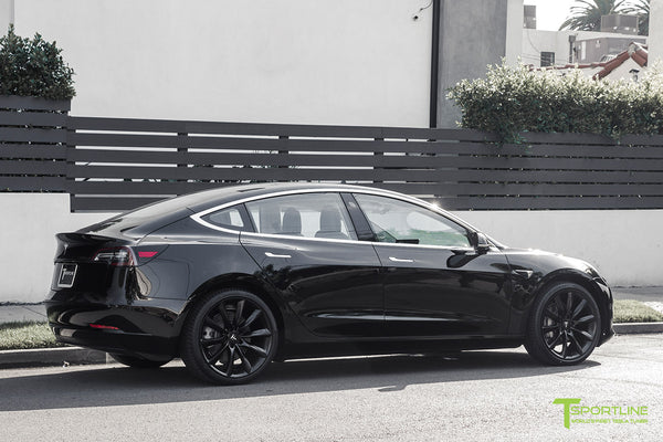 Black Tesla Model 3 with Matte Black 20 inch TST Turbine Style Wheels by T Sportline 2