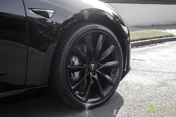 Black Tesla Model 3 with Matte Black 20 inch TST Turbine Style Wheels by T Sportline 1