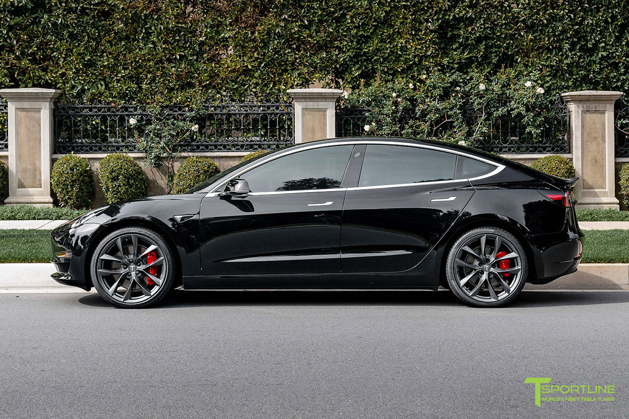 Black Tesla Model 3 Performance with Performance Package and Matte Carbon Fiber Trunk Wing Spoiler by T Sportline 4