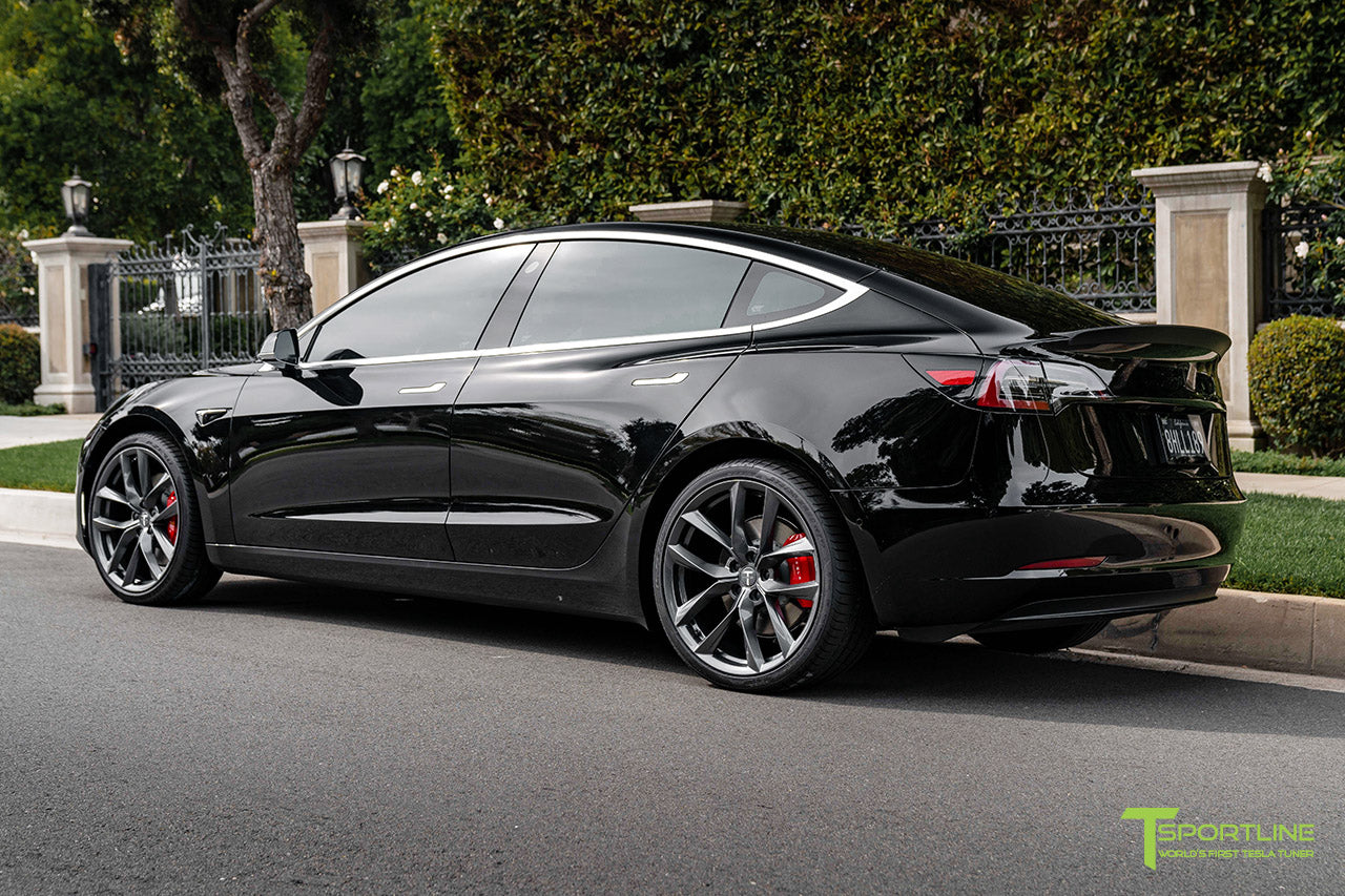 Black Tesla Model 3 Performance with Performance Package and Matte Carbon Fiber Trunk Wing Spoiler by T Sportline 3