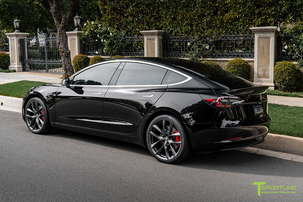 Black Tesla Model 3 Performance with Performance Package and Matte Carbon Fiber Trunk Wing Spoiler by T Sportline 2