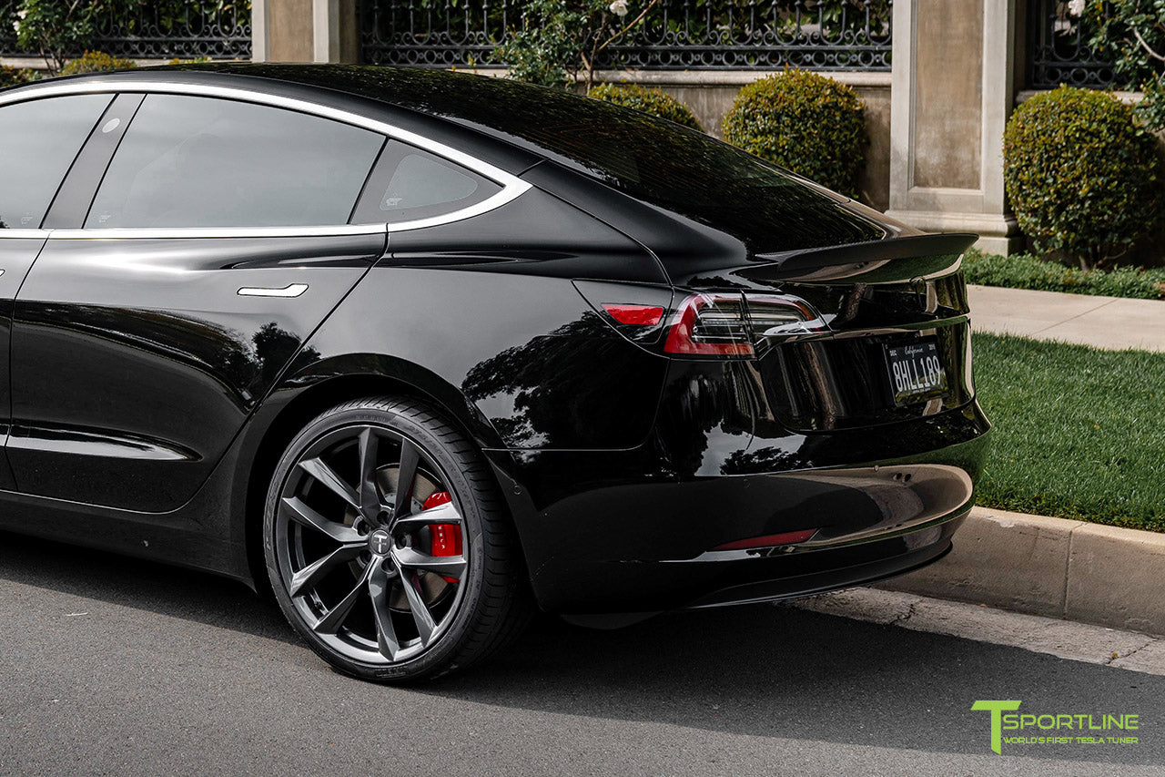 Black Tesla Model 3 Performance with Performance Package and Matte Carbon Fiber Trunk Wing Spoiler by T Sportline 1