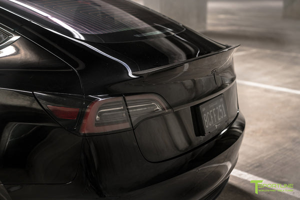 Black Tesla Model 3 with Gloss Carbon Fiber Trunk Wing Spoiler by T Sportline 1