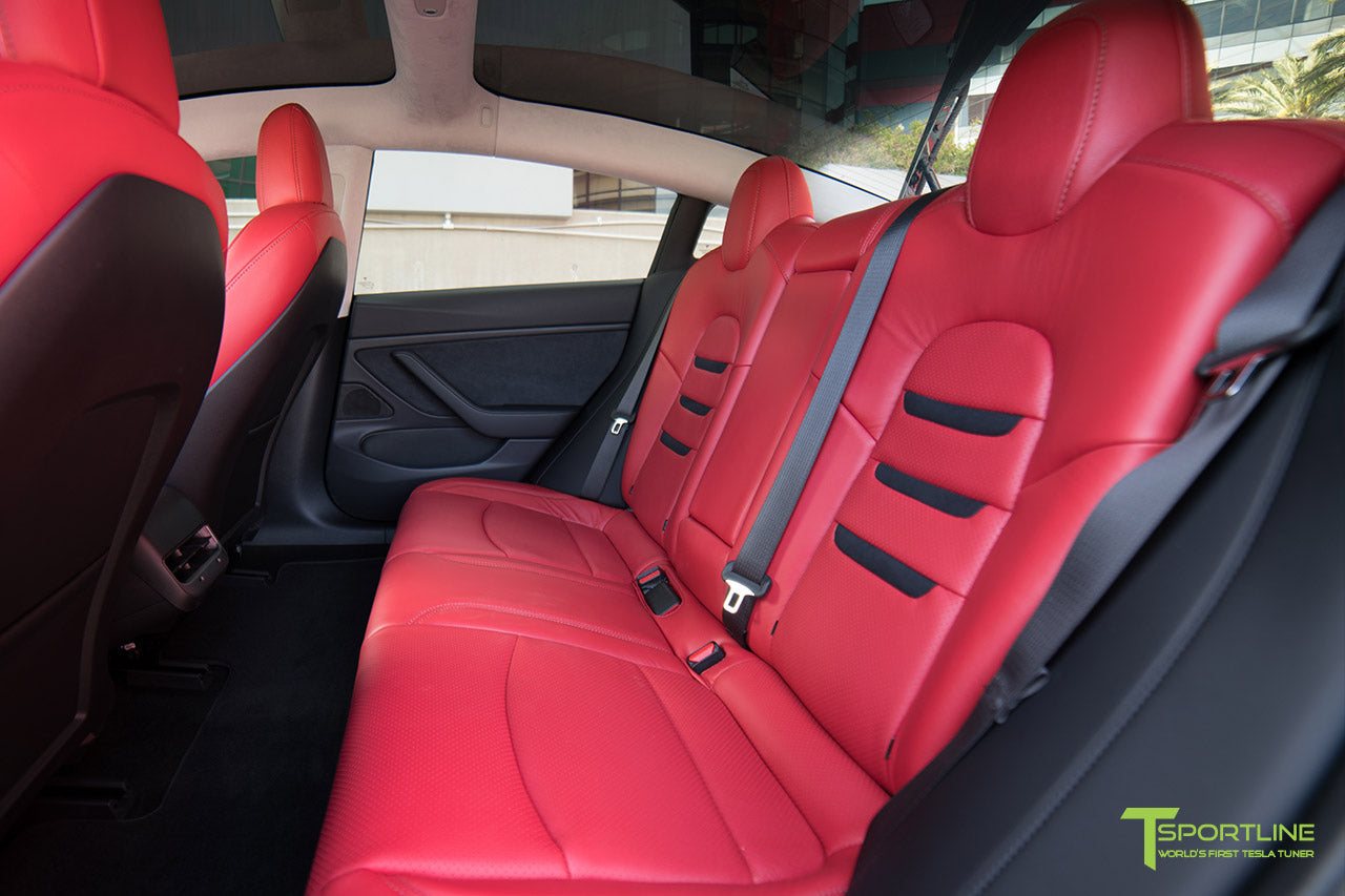 Tesla Model 3 Custom Leather Interior Kit - Red Leather - Suede Black - Perforated by T Sportline