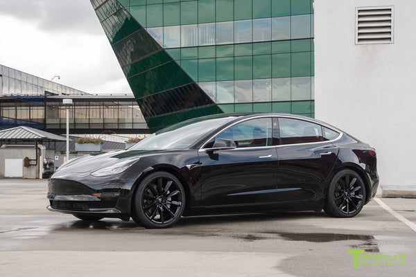 Black Tesla Model 3 with Gloss Black 19 inch TST Tesla Turbine Style Wheel by T Sportline 1