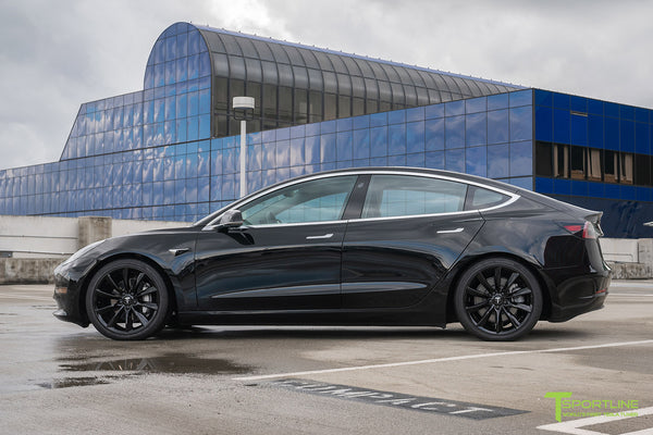 Black Tesla Model 3 with Gloss Black 19 inch TST Tesla Turbine Style Wheel by T Sportline 2