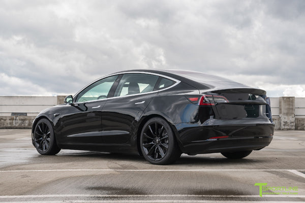 Black Tesla Model 3 with Gloss Black 19 inch TST Tesla Turbine Style Wheel by T Sportline 3
