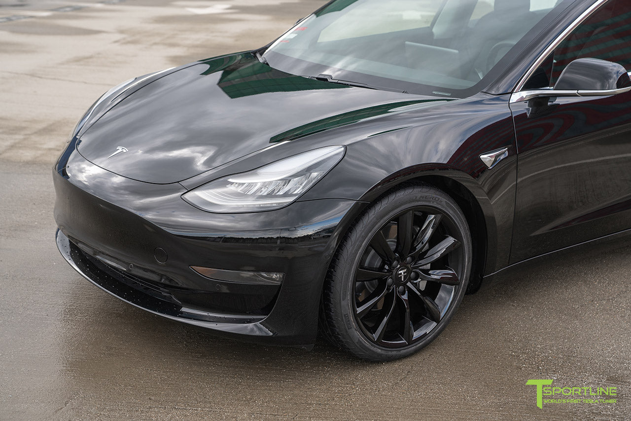 Black Tesla Model 3 with Gloss Black 19 inch TST Tesla Turbine Style Wheel by T Sportline 4