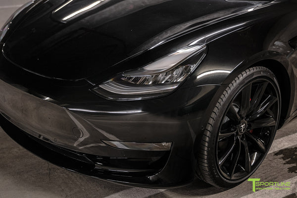 Murdered Out Black Tesla Model 3 with Gloss Black Chrome Delete, Window Tint, Gloss Black 20 inch Turbine Style TST Wheels, Gloss Carbon Fiber Trunk Wing, and Lug Nut Cover by T Sportline 3